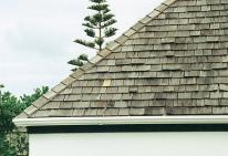 warped timber shingle roof