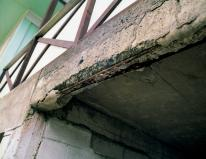 serious corrosion of reinforcing concrete cracking