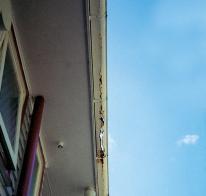 rusting steel gutter